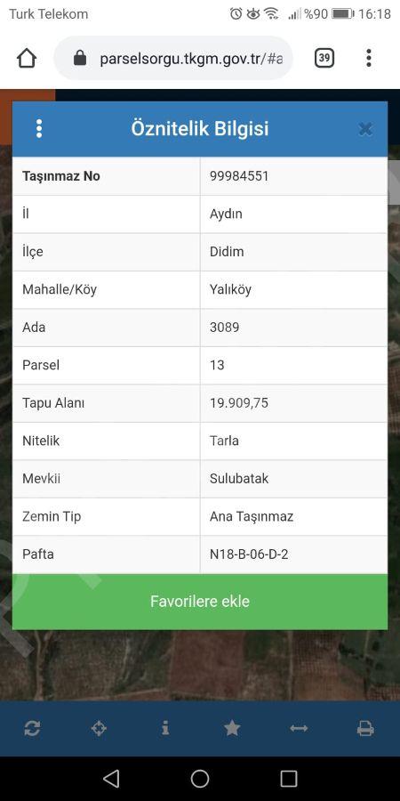 Didim Yalıköy Mahallesinde Satılık Arsa