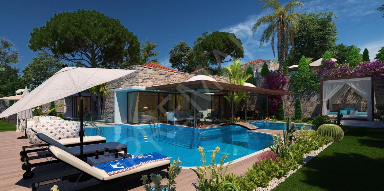 Bitez'de Havuzlu, Müstakil 5+1 Satılık Villalar