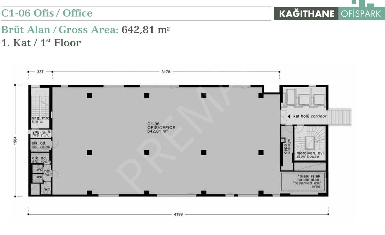 Kağıthane Tekfen Ofispark'ta Kiralık Ofis Katı 643m2 Güncel İlan