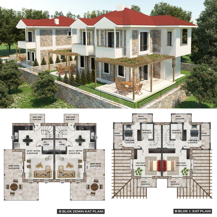 Premar Datça Merkez'de 3+1,2+1 Deniz Manzaralı Bahçeli Villalar